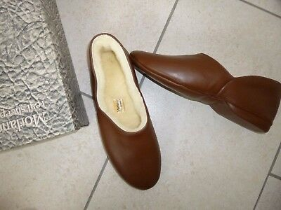 VINTAGE MORLANDS Brown Leather Slippers Size 8 NEW with box