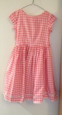 Vintage St Michael cotton dress in pink and white check, age 12