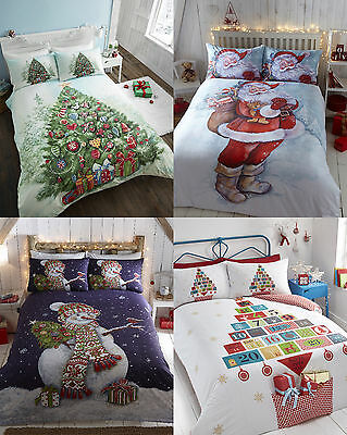 Father Christmas Tree Snowman Duvet Sets Single, Double Or King Size