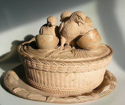 RARE Antique GAME DISH Bowl Plate FIGURAL Hatching CHICKS EGG CANE WARE Pottery