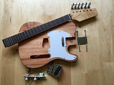 DIY T style guitar kit, full parts package with FREE Mahogany body + Maple Neck