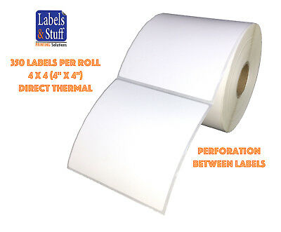 "1 Roll 350 Labels 4x4 (4"" x 4"") Direct Thermal Zebra Eltron Labels"