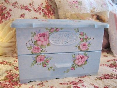 Shabby Chic Hand Painted Roses - Jewelry Chest