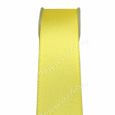 "4y 57mm 2 1/4"" Lemon Double Sided Premium Heavy Satin Ribbon Eco FREE PP"