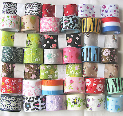 "10yds 25mm 1"" Mixed Prints Grosgrain Ribbon Gift Eco Premium FREE PP"
