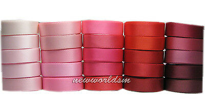 "8y Pink Red Burgundy Mixed 38mm 1 1/2"" Single Sided Satin Ribbon Eco FREE PP"