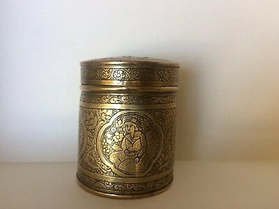 Antique Qajar Persian Brass Chased Pictorial Tobacco Box