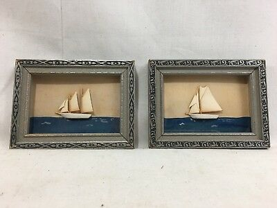 "Very Nice Pair Antique c1920's Miniature Cutter & Schooner Framed Diorama 3""x4"""
