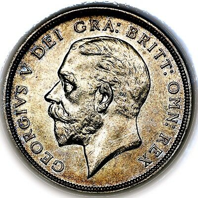 1933 King George V Great Britain Silver Wreath Crown Coin PCGS AU58