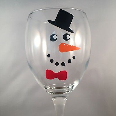 25 Snowman face with Hat vinyl decals stickers Christmas Decorations wine glass