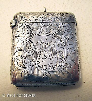 V-Large 34g Edwardian Antique Solid Sterling Silver Vesta Match Striker Case Box