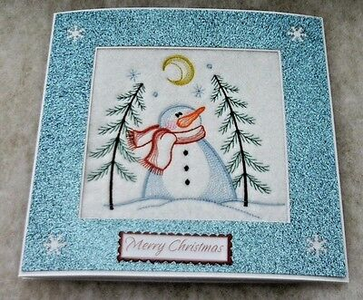 complete embroidered Christmas card 'Snowman under the moon'