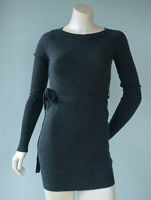 H&M Mama Maternity Women's Size XS NWT $35 Gray Short Sweater Dress W/ Belt