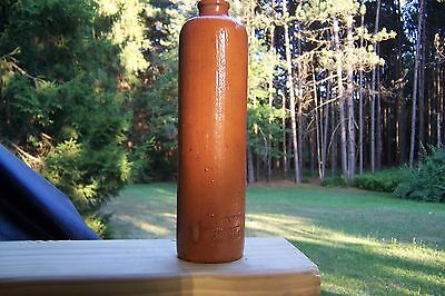 Vintage Clay Pottery Bottle Tall Thin Orange Color