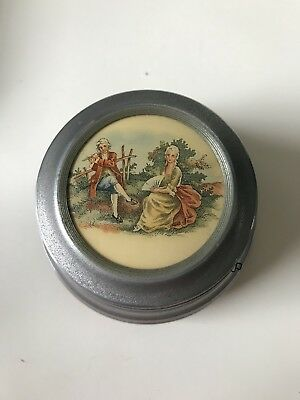 Vintage Metal Powder Puff Music Box In Good Working Condition French Vanity