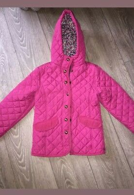 Girls Pink quilted hooded coat jacket joules age 6 years