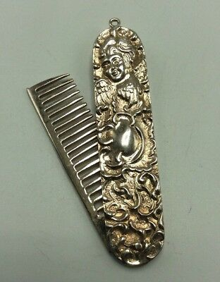 Vintage REO Sterling Silver Art Deco Folding Pocket Mustache Comb, 17.5g