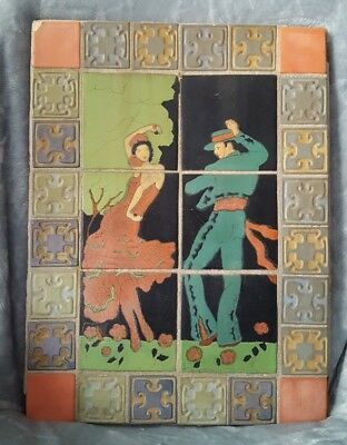 California mission pottery taylor tile table Spanish dancers arts crafts