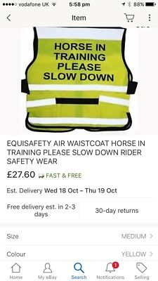 Equisafety Horse In Training Please Slow Down Hi-vis Rider Safety Wear RRP £28