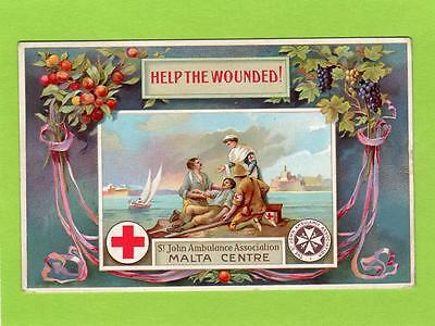 St John Ambulance Association Malta Centre WWI Help the Wounded pc used 1915