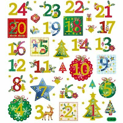 Christmas Advent Numbers 1-24 Fancy Stickers , Kids Crafts, Card Making,   28957