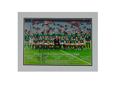 Brian O'driscoll Signed Ireland Rugby Grand Slam Champions 2009 Display+ *proof*