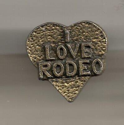 Vintage Heart-shaped I LOVE RODEO old B metal pin