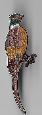 Vintage Colorful Pheasant Perched old cloisonne pin