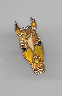 Vintage Gold with White Forehead Horse Head old enamel lapel pin