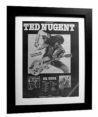 TED NUGENT+Free For All+TOUR+POSTER+AD+FRAMED+ORIGINAL 1977+EXPRESS GLOBAL SHIP
