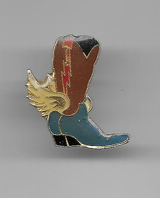 Vintage Winged Cowboy Boot brown small old enamel pin