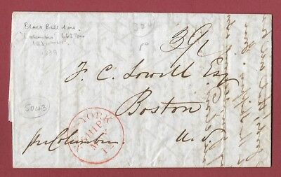 1839 New York Ship Letter To Boston - Transported On Black Ball Line's Columbia.