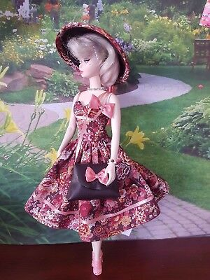 Brown and pink autumn dress ensemble for Silkstone and other fashion dolls