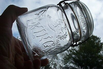 KING in banner pint oval Fruit Jar- Antique Boston Mass. canning jar