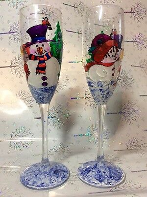 Hand Painted Champagne Glasses Christmas Theme