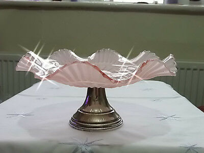 Vintage Art Deco Pink Glass & Silver Cake Stand