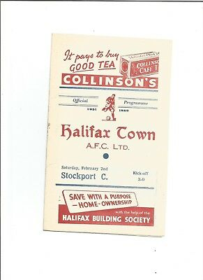 HALIFAX TOWN v STOCKPORT COUNTY 1951/52