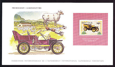 Car Automobile card displaying 1984 Bhutan 1903 Wolseley hinged Asian Asia stamp