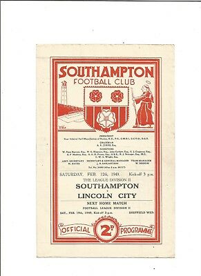 SOUTHAMPTON v LINCOLN CITY 1948/49