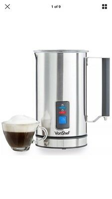 VonShef Premium Electric Milk Frother And Warmer Stainless Steel Dual Function