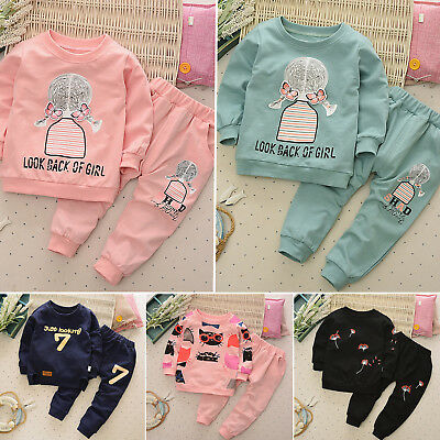 Boys 2PCS Kids Baby Girl Hoodie Outfits T-shirt Tops + Pants Set Tracksuit