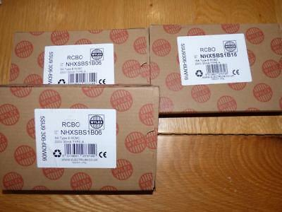 3 x Wylex RCBO Type B. Brand new boxed. 2 x 6amp 1 x 16amp