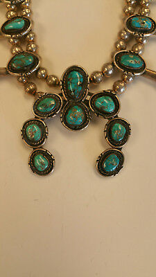 Old Pawn _ Squash Blossom Necklace _Sterling Silver & Turquoise