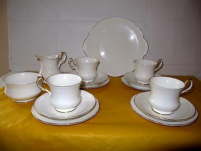 QUEENS VERSAILLES WHITE/GOLD Part Tea Set for 4 , used