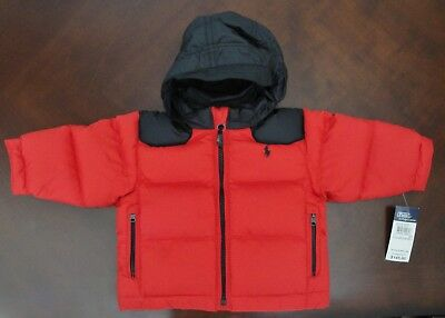 NWT Ralph Lauren Polo Infant Boys Red Down Hooded Winter Coat Jacket 9m NEW $145