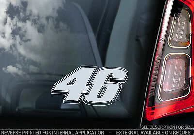 Valentino Rossi #46 - Car Window Sticker -Moto GP Vale Decal Number 46 Sign -V06