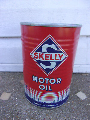VIntage Skelly Motor Oil 1 Quart Can Metal Ribbed Sides Very near MINT