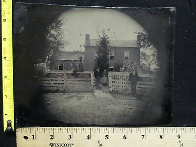 Vintage Full Plate Tintype Homestead View Horse Dog Brick House Men Women 7 x 9""
