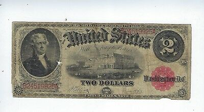 Series Of 1917 Red Seal United States ($2)Two Dollar Note