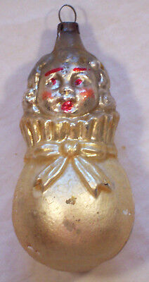 Antique GERMAN Child/Boy/GIRL IN a SACK/Bag/Pouch Glass CHRISTMAS ORNAMENT